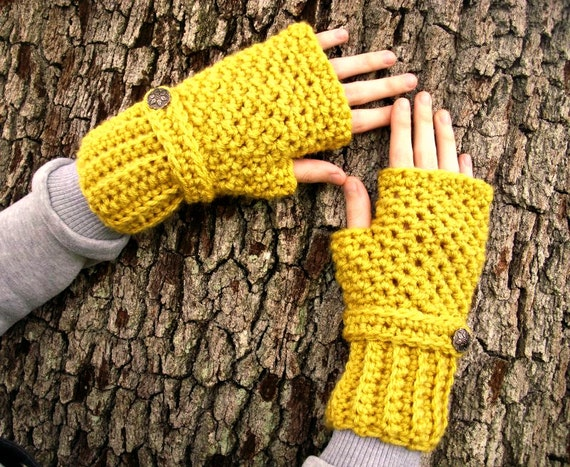 Crocheted Fingerless Gloves Mittens - Yellow Fingerless Gloves Mustard Yellow Gloves Yellow Mittens Mustard Gloves Womens Accessories