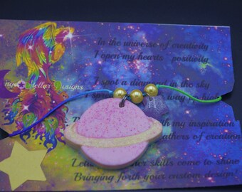 Kawaii Saturn Planet glitter charm Bracelet