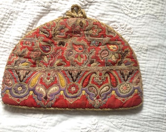 Vintage quilted and embroidered tea cosy 1930s