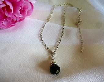 swarovski 14 mm jet black color and Pearl glass Pearl Necklace with charm