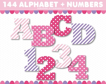 ABC Clipart, Pink and Purple Alphabet Clipart with polka dots and stripes, Alphabet Clip Art, Digital Letters, Number Clipart, AL-120