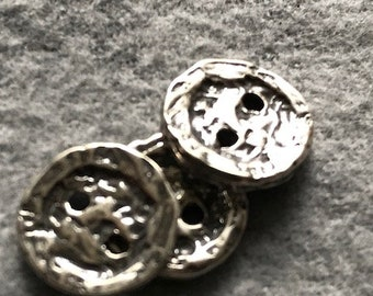 Button, Double Hole, Sterling Silver, Artisan, Lost Wax Cast, Hand Carved, BT3