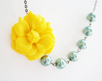 Statement Necklace Yellow Necklace Flower Necklace Bridesmaid Jewelry Bridesmaid Gift Sage Necklace Bridal Necklace Wedding Necklace Gift