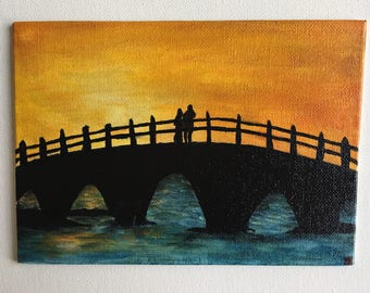 Sunset Silhouette Original Acrylic Painting  5x7
