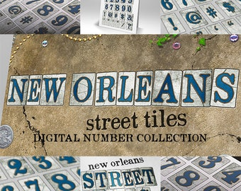 New Orleans Street Tiles Numbers Scrapbooking Digital Symbols & PSD