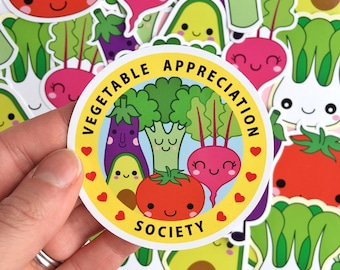 Cute Vegetables sticker set- laptop stickers - vegan vegetarian vinyl sticker - veggie sticker