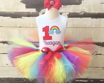 Rainbow Tutu Outfit, 1st Birthday Tutu Set, Red Rainbow, Personalized Bodysuit, Sewn Rainbow Tutu, Headband, Rainbow Baby, Girl Cake Smash