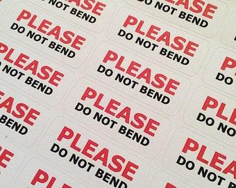 70 Please Do Not Bend Stickers Fragile Labels Sheets Red Packaging Envelope UK United Kingdom