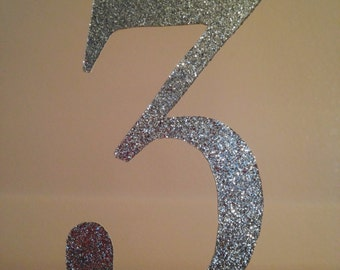 Birthday Number Cake Topper, 3 Cake Topper, Age Cake Topper, Glitter Cake Topper, Birthday Cake Topper