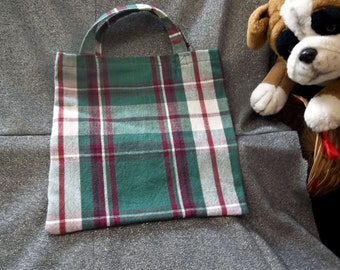 Book Lunch N Small Gift Tote Bag, Red and Green Plaid Print
