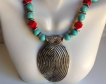 Necklace ~ Silver, Coral, and Turquoise Pendant Necklace