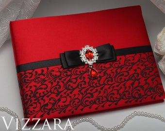 Guest book ideas for wedding Red and black wedding Red wedding guest book Black and red wedding ideas Red wedding colors
