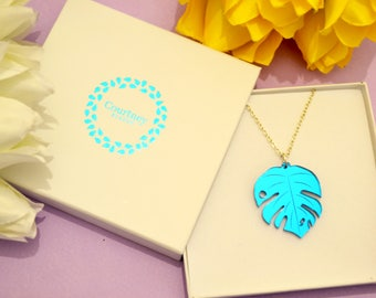 Blue Monstera Leaf Necklace, Cheese Plant, Acrylic Necklace, Plant Jewellery, Laser Cut Necklace, Nature Jewellery, Tropical Plant Necklace