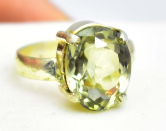 26.85Ct Certified US Size-7 Beautiful Green Amethyst Ring Gems 925 Sterling Silver AQ60