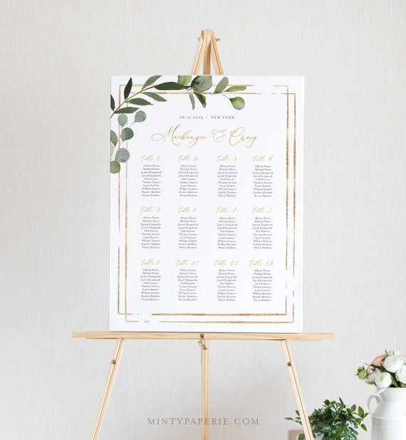 Printable Seating Chart Template, Wedding Seating Sign, Instant Download, 100% Editable Text, Greenery, US & UK Poster Sizes, DIY #056-226SC