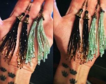 Vintage handbeaded mint green fringe brass earrings