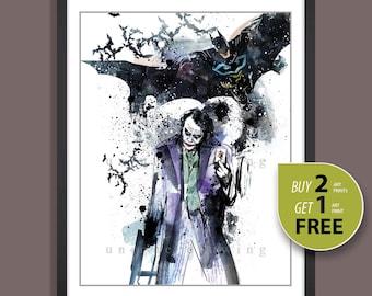 Joker poster, Joker print, Batman poster, Batman print, Joker and batman, The dark knight poster print, Kids Decor, Superhero wall art, 3589