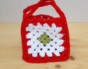 Crochet Granny Square Box with Handles