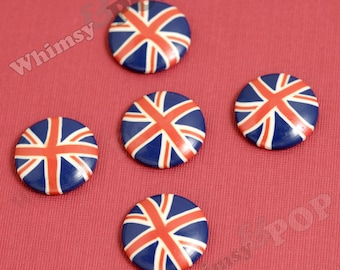 UK Flag Cabochons, Union Jack Resin Flatback Cabochons, Round British Flag Cabochons, 23mm (R6-093)