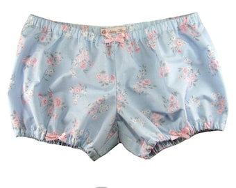 JULY PREORDER Lolita Bloomers blue with pink floral shorts cotton underwear lingerie drawers pajamas nightwear sleepwear cute