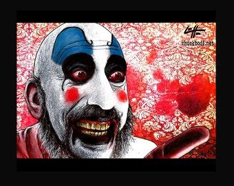 "Print 11x14"" - Gotcha - Captain Spaulding Clowns Horror Sid Haig Dark Art Scary Creepy Rob Zombie Corpse Devils Rejects Pop Art Gothic"