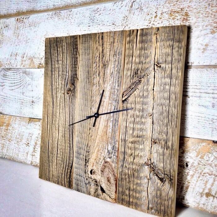 Modern Rustic Clock Barn Wood Wall Clock Large Wood Clock