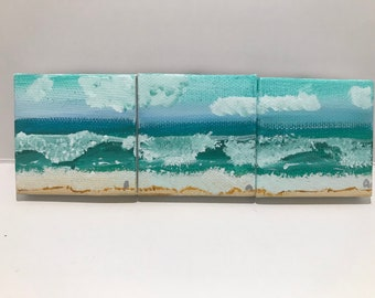 Hand painted ocean magnets set of three