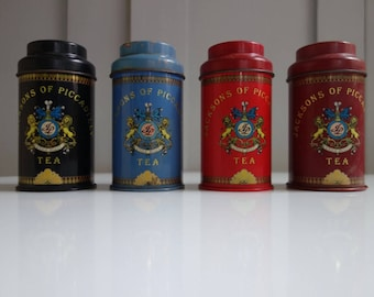 4 Vintage Jacksons Of Piccadilly Tea Tins, Storage Canisters, Shop Tins, Vintage Tins, Display Items, Props