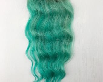Clip In Pastel Hair Extensions, mint Hair, Hair Weave, Wide Tracks, Ombre Hair Extensions, blue Hair, green Hair, Rainbow Hair, Festival