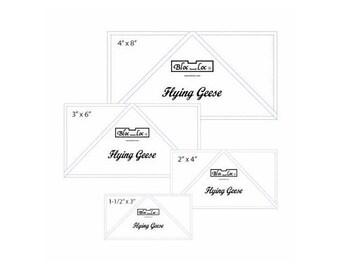 Bloc Loc Flying Geese Ruler Set 1~1.5inx3,2inx4in,3inx6in,4inx8in