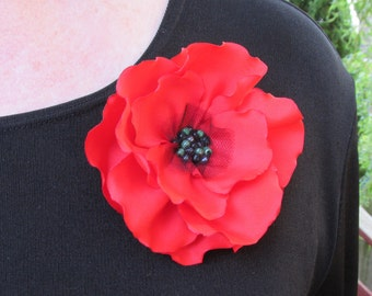 Medium/Large Red Poppy Pin (For Dress), Brooch or Hair Clip