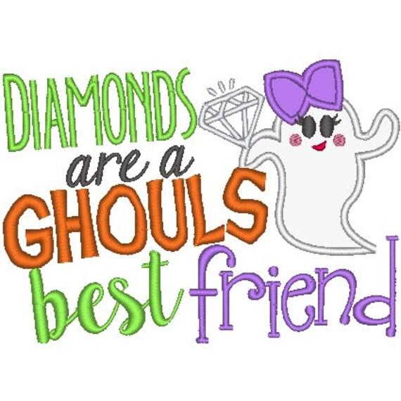 SAMPLE SALE, Diamonds are Ghouls Best Friend Embroidered Halloween Shirt - Boys Halloween Shirt - Girls Halloween Shirt - Fall Shirt