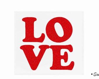 Love text red paillete flex fusible
