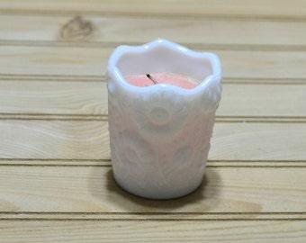 Vintage Milk Glass Votive Candle Holder Floral Design Flowers White