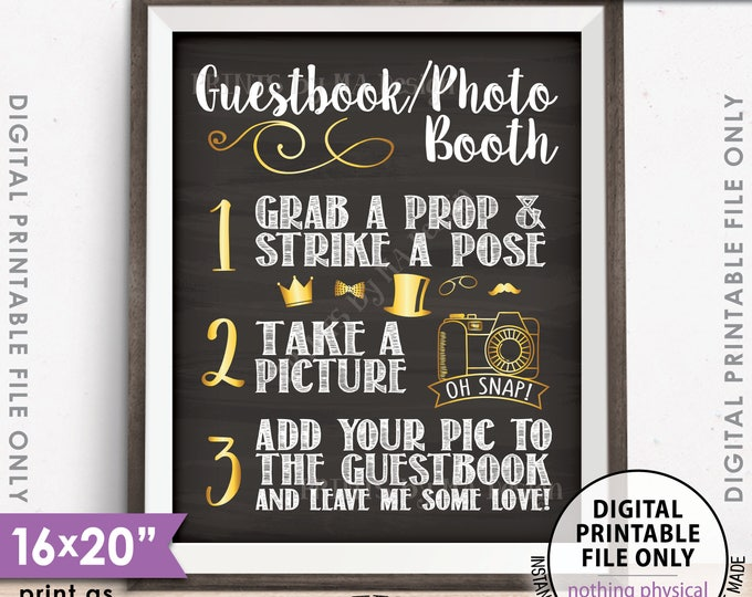 """Guestbook Photobooth Sign, Add photo to the Guest Book Photo Booth, Leave Me Some Love, PRINTABLE 8x10/16x20"""" Chalkboard Style Sign <ID>"""