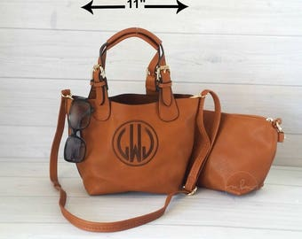 Monogram Small Brown Crossbody - Monogram Purse -Personalized Purse- Monogram Handbag - Monogram Crossbody-2 bags in 1- FINAL INVENTORY