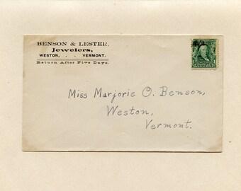Weston Vermont Advertising Cover Benson Lester Jewelers Miss Marjorie One Cent Benjamin SC 300