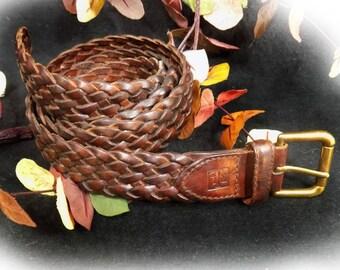 brown woven belt, Brown braided belt, Genuine Leather Belt -unisex woven belt - buckle belt,  braided belt, wide belt, Size Waist 34 ,# B 69