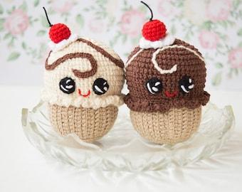 Chocolate/ Milk cupcake With cherry, Crochet Baby toy, Kawaii Amigirumi Play Food, Soft Toy,Plush Cake, photo props, children's rooms Decor