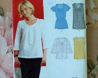 Blouse Pattern Size 8 10 12 14 16 18 Bust 31 1/2 32 1/2 34 36 38 40 New Look 6868 Uncut Pullover Blouse Pattern Pullover Top Pattern