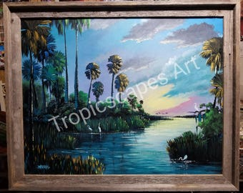 Original Painting Florida Landscape Art Okeechobee Sunset 22x28