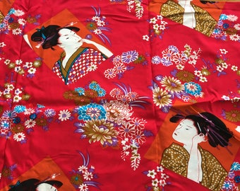 "Vintage Red Geisha Woman Rayon Fabric 42"" w X 2 YARDS- red geisha rayon fabric, geisha, Japanese fabric, Geisha fabric, Japan"