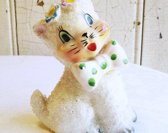 Mid-Century Sugar Texture Cat Figurine - Anthropomorphic Kitty in Green Polka Dot Bow Tie, 1960s Hand Painted Ceramic Kitten, Cat Lover Gift