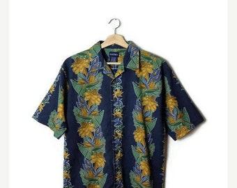 ON SALE Vintage Men's Hawaiian Cotton Shirt from 90's/Hawaiian Shirt/Dark blue*