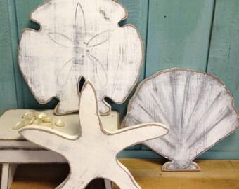 Starfish Sand Dollar Seashell Sign Beach House Decor Wall Art by CastawaysHall Set of Three