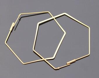 Gold Hexagon Ear Wire Big Earring Findings, Oversized Earrings Ear wire, 1 pair, S812475
