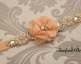 Peach flower girl belt, Peach flower sash, wedding belt, belt sash, bridesmaid belt, wedding sash, crystal rhinestone belt, dress belt
