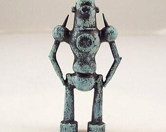Ancient Cyclops Guardian Robot Wood Pendant Ornament Science Fiction Dangle