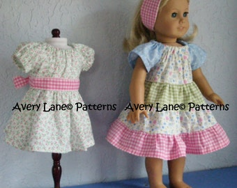 "Ivy's Apron peasant 18"" Doll Dress pattern Boutique Sewing Pattern  Avery Lane 18 inch dolls PDF Patern instant download"