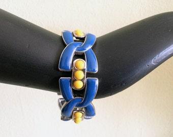 Vintage 1950s Chunky Link Bracelet Bright Blue & Yellow Statement Jewelry Heavy Enamel Mid Century Midcentury Geometric Design Accessory